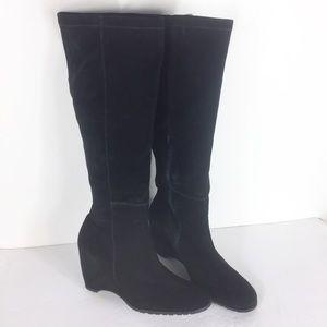 Franco Sarto Women Black Suede Round Toe Boots